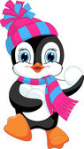 Penguin playing snowballs — Stock Vector