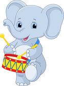 Elephant drummer — Stock Vector
