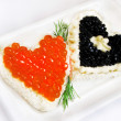 SANDWICHES WITH FISH CAVIAR — Stock Photo