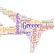 Tag or word cloud Europe traveling related in shape of airplane — Stock Photo