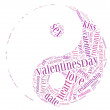 Tag or word cloud valentine's day or love related in shape of yinyang — Stock Photo