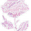 Stock Photo: Tag or word cloud valentine's day or love related in shape of rose flower