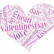 Tag or word cloud valentine's day or love related in shape of heart — Stock Photo