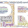 Tag or word cloud public relations related in shape of PR — Stock Photo #26782431