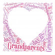 Tag or word cloud grandparents day related in shape of heart frame with blank place — Photo #26782507