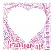 Tag or word cloud grandparents day related in shape of heart frame with blank place — Stockfoto #26782507