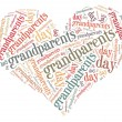 Tag or word cloud grandparents day related in shape of heart — Stock Photo
