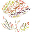 Tag or word cloud grandparents day related in shape of rose flower — Stock Photo