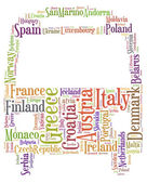 Tag or word cloud Europe traveling related in shape of bus or coach — Stock Photo