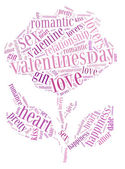 Tag or word cloud valentine's day or love related in shape of rose flower — Stock Photo