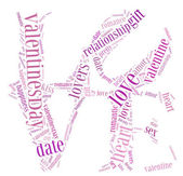 Tag or word cloud valentine's day or love related in shape of love word — Stock Photo