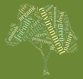 Tag or word cloud ecology related in shape of tree — Stock Photo