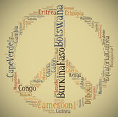 Tag or word cloud Africa related in shape of peace sign — Stock Photo