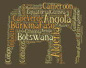 Tag or word cloud Africa related in shape of elephant — Stock Photo