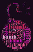 Tag or word cloud valentine's day related in shape of sex bomb — Foto de Stock