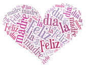 Tag or word cloud mother's day related in shape of heart with Spanish translation — Stock fotografie