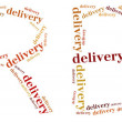 Tag or word cloud free delivery service related in shape of FREE — Stock Photo