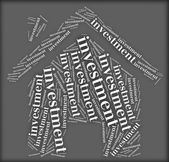 Tag or word cloud investment related in shape of house — Stock Photo