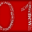 Tag or word cloud new year eve related in shape of 2014 number — Stock Photo