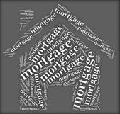 Tag or word cloud mortgage related in shape of house — Stock Photo