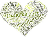 Tag or word cloud grandparents day related in shape of hearth — Stock Photo