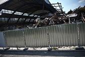 Démolition du bâtiment et de la pile de gravats et de ferraille — Photo