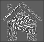 Tag or word cloud insurance related in shape of house — Stock Photo