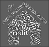 Tag or word cloud credit related in shape of house — Stock Photo