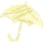 ochrony przeciwsłonecznej tagu lub słowo chmury w kształcie parasola — Stockfoto #31500867
