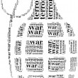 Tag or word cloud war or terrorism related in shape of grenade — Stock Photo