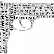 Tag or word cloud war or terrorism related in shape of pistol — Stock Photo