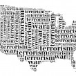 Tag or word cloud war or terrorism related in shape of USA — Stock Photo