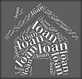 Tag or word cloud loan related in shape of house — Stock Photo
