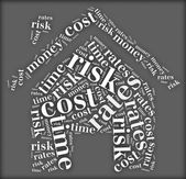 Tag or word cloud risk and cost related in shape of house — Stock Photo