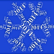 Tag or word cloud new year eve related in shape of snowflake — Stock Photo