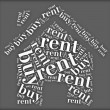 Tag or word cloud buy or rent dilemma related in shape of house — Stock Photo