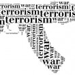 Tag or word cloud war or terrorism related in shape of ak-47 — Stock Photo