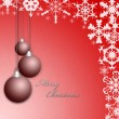 Stock Photo: Christmas red greeting card or postcard with balls