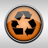Orange glossy recycling button — Stock Photo