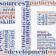 Tag or word cloud human resources related in shape of HR — Stock Photo