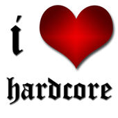 I love hardcore. Funny concept of heart and inscription or text — Stock Photo