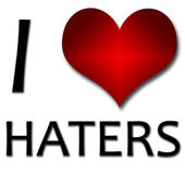 I love haters. Funny concept of heart and inscription or text — Stock Photo