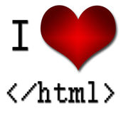 I love html. Funny concept of heart and inscription or text — Stock Photo
