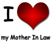 I love mother in law. Funny concept of heart and inscription — Stock Photo