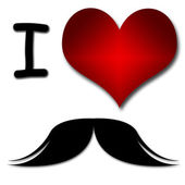 I love mustache. Funny concept of heart and inscription or text — Stock Photo