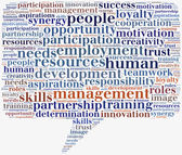 Tag or word cloud human resources related in shape of callout — Stock Photo