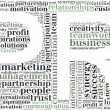 Tag or word cloud public relations related in shape of PR — Stock Photo