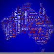 Stock Photo: Tag or word cloud AustraliDay related in shape of continent