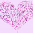 Tag or word cloud Valentine's Day related in shape of heart — Stock Photo #38258601