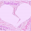 Tag or word cloud Valentine's Day related in shape of heart — Stock Photo